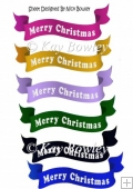 6 Merry Christmas banners cerise (set 2)