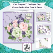 Rose Bouquet 7 Inch Scalloped Edge Corner Stacker Card Front