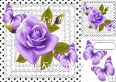 pretty purple roses on lace with polka dots & butterflies 8x8