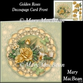 Golden Roses Decoupage Card Front