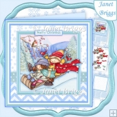 SLEDGING FUN Christmas 8x8 Decoupage & Insert Kit
