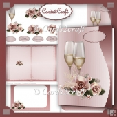 Champagne and roses card set