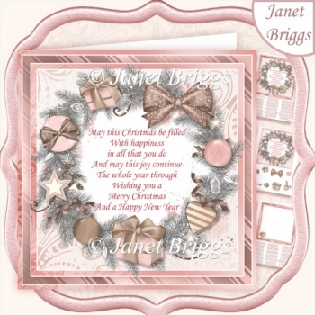 ROSE GOLD CHRISTMAS WREATH & VERSE 7.5 Decoupage 7.5 Kit