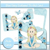 Blue Fairy Scalloped Trifold Card