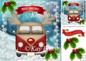 Red toon christmas campervan with holly 8x8