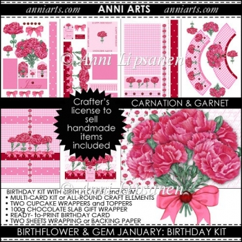 Birth Flowers and Gems January: Card and Gift printables