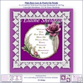Pink Rose Lace & Pearls On Purple 6 x 6 Card Kit Insert Envelope