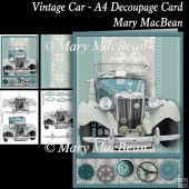 Vintage Car - A4 Decoupage Card