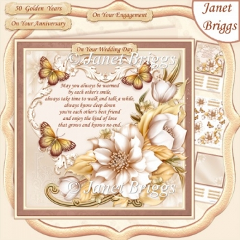CREAM & GOLD FLORALS Wedding Anniversary Engagement Kit