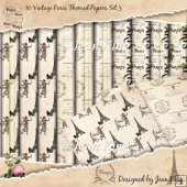 10 Vintage Paris Themed Papers Set 3