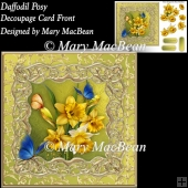 Daffodil Posy Decoupage Card Front
