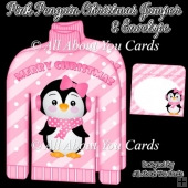 Pink Penguin Christmas Jumper Card & Envelope