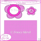 Pink Gingham Flower Frame, Tag, and Backing Paper Set