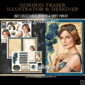 Art Deco Lady Athena Dark Blue 4 Sheet Mini Kit