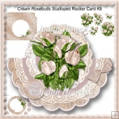 Cream Rosebuds Scalloped Rocker Card Kit