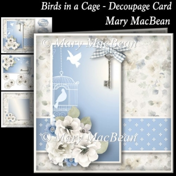 Birds in a Cage - Decoupage Card