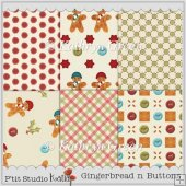 Gingerbread and Buttons A4 CU Backing Papers for Xmas Crafts