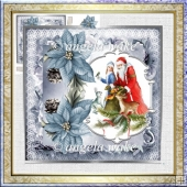 Santa giving gifts 7x7 card with decoupage