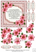 Pink Floral Frame with verse A4 sheet with floral decoupage