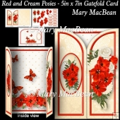 Red and Cream Posies - 5in x 7in Gatefold Card