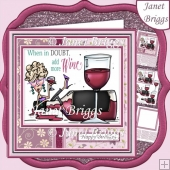 WHEN IN DOUBT ADD MORE WINE 7.5 Humorous Decoupage Card Kit