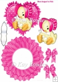 Cute little chick in a pink bonnet on frilly rocker with bows