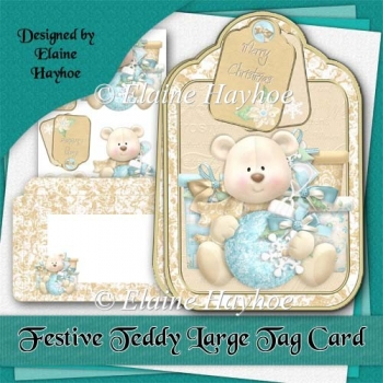 Festive Teddy Large Tag Card Kit