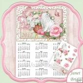 WHITE CAT & ROSES 2017 A4 UK Calendar with Decoupage Kit