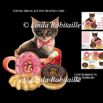 Coffee Break Kitten Shaped Card
