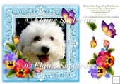 Bichon Frise Puppy Dog Pansies 8 x 8 Card Topper With Decoupage