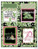 FOUR Christmas Postage Stamp Shaped Toppers