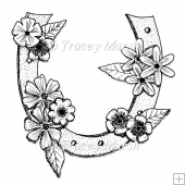 Floral Horseshoe Digital Stamp