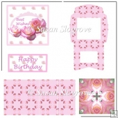 Pink Rose Best Wishes Happy Birthday Easel Card