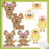 Bunnies and Chicks Brown Clip Art