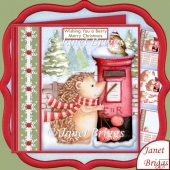 HEDGEHOGS BERRY MERRY CHRISTMAS 7.5 Decoupage & Insert Kit