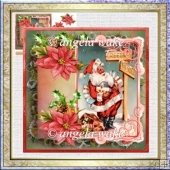 which way does Santa go 7x7 card with decoupage