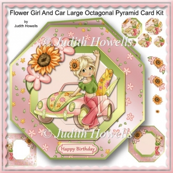 Flower Girl And Car Large Octagonal Pyramid Card Kit