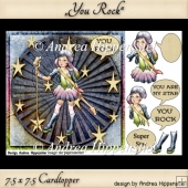 7.5 x 7.5 Card Topper you rock