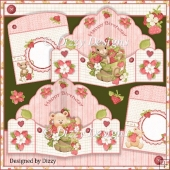 Strawberry Bear and Mouse Pop Out Pocket Card