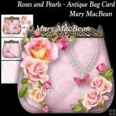 Roses and Pearls - Antique Bag Card
