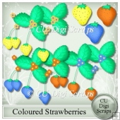 Coloured Strawberries Clipart Collection