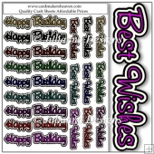 Word Toppers Happy Birthday and Best Wishes Cut Outs