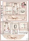 Cottage Chic Wedding Congratulations Topper with Decoupage