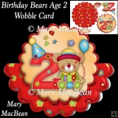 Birthday Bears Age 2 Wobble Card
