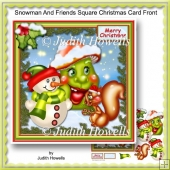 Snowman And Friends Square Christmas Card Front
