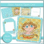 Zodiac Aquarius Square Card