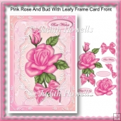 Pink Rose And Bud With Leafy Frame Card Front