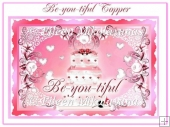 Be-You-Tiful Birthday Mirrored Card Topper with Decoupage