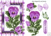 pretty lilac pansies with bow gingham & butterfly A5