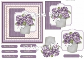 Pot of purple flowers 6x6 card